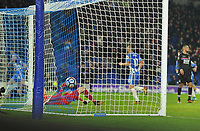Football - 2017 / 2018 FA Cup - Third Round: Brighton & Hove Albion vs. Crystal Palace<br /> <br /> Dale Stephens of Brighton (far left) slips the ball under the body of Wayne Hennessey to score his first half goal, at The Amex.<br /> <br /> COLORSPORT/ANDREW COWIE
