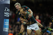 South Africa's Fourie Du Preez ® celebrates with teammate Jean De Villiers after he scores his try in 2nd half.  Autumn International rugby, 2013 Dove men series, Wales v South Africa at the Millennium Stadium in Cardiff,  South Wales on Saturday 9th November 2013. pic by Andrew Orchard, Andrew Orchard sports photography,