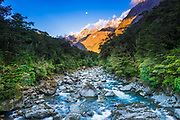 Moonrise over Mount Madeline and the Tutoko River, Fiordland National Park, South Island, New Zealand
