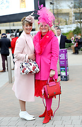 Debbie King (left) and Shelly Large during Ladies Day of the 2018 Cheltenham Festival at Cheltenham Racecourse.