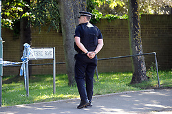© Licensed to London News Pictures. 21/05/2015<br /> A Kent police officer outside the property.<br /> Met police search teams arriving early this morning (21.05.2015) at the Dartford home of Brian and Paul Reader.<br /> Eight men, including two from Kent, have been charged in connection with the multimillion pound jewellery heist at Hatton Garden.<br /> <br />  Brian Reader and his son Paul Reader both of Dartford Road, Dartford,Kent have been charged with conspiracy to burgle.  <br /> <br />  <br /> (Byline:Grant Falvey/LNP)