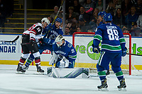 KELOWNA, BC - SEPTEMBER 29: Jacob Markstrom #25 of the Vancouver Canucks makes a third period save against the Arizona Coyotes at Prospera Place on September 29, 2018 in Kelowna, Canada. (Photo by Marissa Baecker/NHLI via Getty Images)  *** Local Caption *** Jacob Markstrom; Christian Fischer;Sam Gagner;