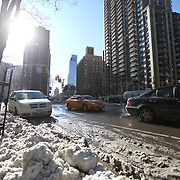 Near empty streets are seen in the Manhattan borough of New York on Thursday, Jan. 23, 2014. A recent snow storm created by a polar vortex, dumped almost a foot of snow in some areas of New York City, followed by bitter cold.The NFL plans on featuring the Super Bowl at MetLife stadium in New Jersey on February 3rd amid growing concerns about more snow and bitter cold arriving just prior to the game.  (AP Photo/Alex Menendez)