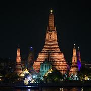 A buddist temple along the river in Bangkok, Thailand.