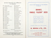 All Ireland Senior Hurling Championship Final,.07.09.1958, 09.07.1958, 7th September 1958,.Minor Galway v Limerick, .Senior Galway v Tipperary, Tipperary 4-09. Galway 2-05,..Advertisement, Rowan's Fulcrop Seeds, M. Rowan & Co. Ltd.,