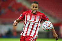 PIRAEUS, GREECE - OCTOBER 21: Youssef El-Arabi of Olympiacos FC during the UEFA Champions League Group C stage match between Olympiacos FC and Olympique de Marseille at Karaiskakis Stadium on October 21, 2020 in Piraeus, Greece. (Photo by MB Media)