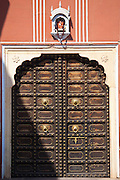 Traditional gateway entrance to the Maharaja of Jaipur's Moon Palace in Jaipur, Rajasthan, India