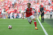 Arsenal's Nacho Monreal(18) runs forward down the wing during the The FA Cup final match between Arsenal and Chelsea at Wembley Stadium, London, England on 27 May 2017. Photo by Shane Healey.
