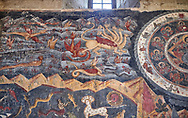 """Pictures & images of the interior fresco depicting 13th-century depiction of the """"Beast of the Apocalypse"""" and figures of the Zodiac. The Eastern Orthodox Georgian Svetitskhoveli Cathedral (Cathedral of the Living Pillar) , Mtskheta, Georgia (country). A UNESCO World Heritage Site.<br /> <br /> Currently the second largest church building in Georgia, Svetitskhoveli Cathedral is a masterpiece of Early Medieval architecture completed in 1029 by Georgian architect Arsukisdze on an earlier site dating back toi the 4th century. .<br /> <br /> Visit our MEDIEVAL PHOTO COLLECTIONS for more   photos  to download or buy as prints https://funkystock.photoshelter.com/gallery-collection/Medieval-Middle-Ages-Historic-Places-Arcaeological-Sites-Pictures-Images-of/C0000B5ZA54_WD0s<br /> <br /> Visit our REPUBLIC of GEORGIA HISTORIC PLACES PHOTO COLLECTIONS for more photos to browse, download or buy as wall art prints https://funkystock.photoshelter.com/gallery-collection/Pictures-Images-of-Georgia-Country-Historic-Landmark-Places-Museum-Antiquities/C0000c1oD9eVkh9c"""