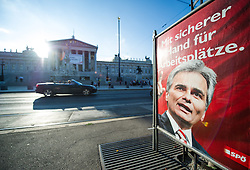THEMENBILD - Wahlplakate zur Nationalratswahl 2013. Das Bild wurde am 04. September 2013 aufgenommen. im Bild Wahlplakat der SPOe mit Werner Faymann vor dem Parlament // THEME IMAGE FEATURE - Election Campaign Posters for the Legislative Election in Austria. The image was taken on september, 4th, 2013. Picture shows SPOe Election Poster in front of the austrian Parliament , AUT, EXPA Pictures © 2013, PhotoCredit: EXPA/ Michael Gruber