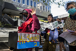 Activists from HS2 Rebellion, an umbrella campaign group comprising longstanding campaigners against the HS2 high-speed rail link as well as Extinction Rebellion activists, march past the offices of HS2 with the handmade Boris the Bank Engine to a protest rally in Parliament Square on 4 September 2020 in London, United Kingdom. The rally, and a later protest action at the Department of Transport during which activists glued themselves to the doors and pavement outside and sprayed fake blood around the entrance, coincided with an announcement by HS2 Ltd that construction of the controversial £106bn high-speed rail link will now commence.
