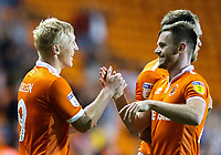 Blackpool's Mark Cullen celebrates scoring the opening goal with Ollie Turton<br /> <br /> Photographer Alex Dodd/CameraSport<br /> <br /> The EFL Sky Bet League One - Blackpool v Coventry City - Tuesday 21st August 2018 - Bloomfield Road - Blackpool<br /> <br /> World Copyright © 2018 CameraSport. All rights reserved. 43 Linden Ave. Countesthorpe. Leicester. England. LE8 5PG - Tel: +44 (0) 116 277 4147 - admin@camerasport.com - www.camerasport.com