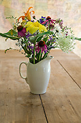 An informal bouquet of wildflowers in a white ironstone pitcher, Bar Harbor, Maine.