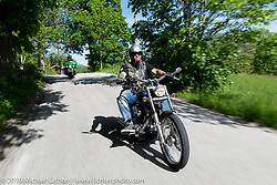 Kenneth Astrom riding his Harley-Davidson custom on a Twin Club ride out from the club house in Norrtälje after their annual Custom Bike Show. Sweden. Sunday, June 2, 2019. Photography ©2019 Michael Lichter.
