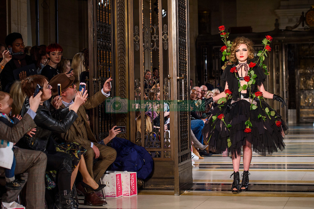 Ellie Rae Winstone, watched by father Ray Winstone, on the catwalk during the Pam Hogg Autumn/Winter 2017 London Fashion Week show at the Fashion Scout venue in Freemason's Hall, London. Picture date: Saturday February 19th, 2017. Photo credit should read: Matt Crossick/ EMPICS Entertainment.