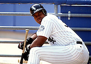 CHICAGO - 1994:  Frank Thomas of the Chicago White Sox looks on during an MLB game at Comiskey Park in Chicago, Illinois.  Thomas played for the White Sox from 1990-2005. (Photo by Ron Vesely)