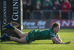 March 2, 2019 - Galway, Ireland - Kiernan Marmion of Connacht scores a try during the Guinness PRO 14 match  between Connacht Rugby and Ospreys at the Sportsground in Galway, Ireland on March 2, 2019  (Credit Image: © Andrew Surma/NurPhoto via ZUMA Press)