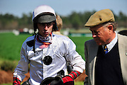 27 March 2010 : Brian Crowley talks with Hall of Fame trainer Jonathan Sheppard after winning the Woodward Kirkover hurdle race aboard ARCADIUS