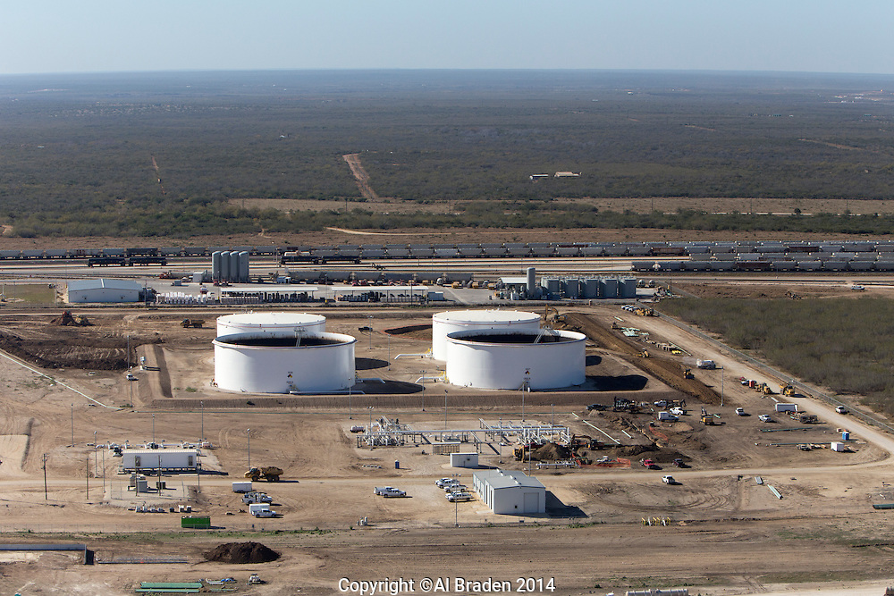 """Gardendale Rail Terminal, Plains All American oil tanks in foreground. Beginning of 20"""" pipeline from Glendale to Three Rivers to Corpus Christi, TX."""