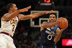 October 19, 2018 - Minneapolis, MN, USA - The Minnesota Timberwolves' Jeff Teague (0) looks to pass around the Cleveland Cavaliers' George Hill (3) in the first half on Friday, Oct. 19, 2018, at the Target Center in Minneapolis. (Credit Image: © Anthony Souffle/Minneapolis Star Tribune/TNS via ZUMA Wire)