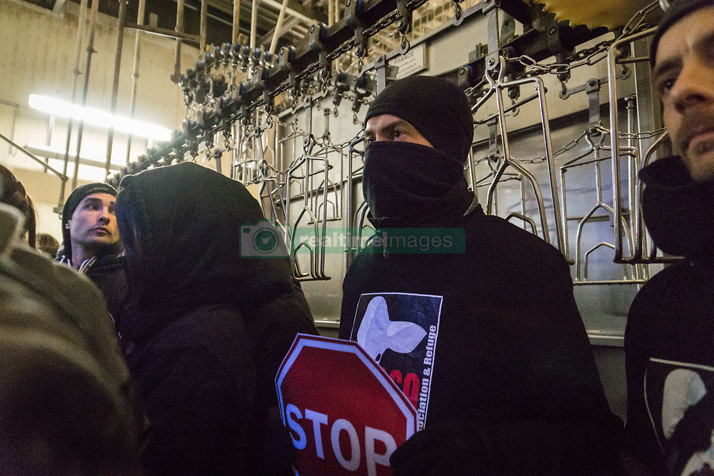 April 27, 2017 - Monsols, France - Occupation of the association ''269 Life Libération Animale'' of the slaughterhouse of Monsols on 27 April 2017, France. About fifty activists took their places on the slaughter line for more than six hours before being forcibly dislodged by the gendarmerie. (Credit Image: © Nicolas Liponne/NurPhoto via ZUMA Press)