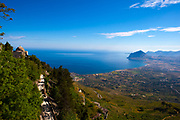 The view from the Venus Castle, a Norman castle built on the site of an earlier temple to Venus at Erice, Sicily.