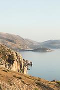 Hills overlooking tranquil blue Aegean Sea, Elinda, Chios, Greece