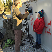 Us & Them photo shoot in the Kara Tepe Syrian refugee Camp in Lesbos Greece.
