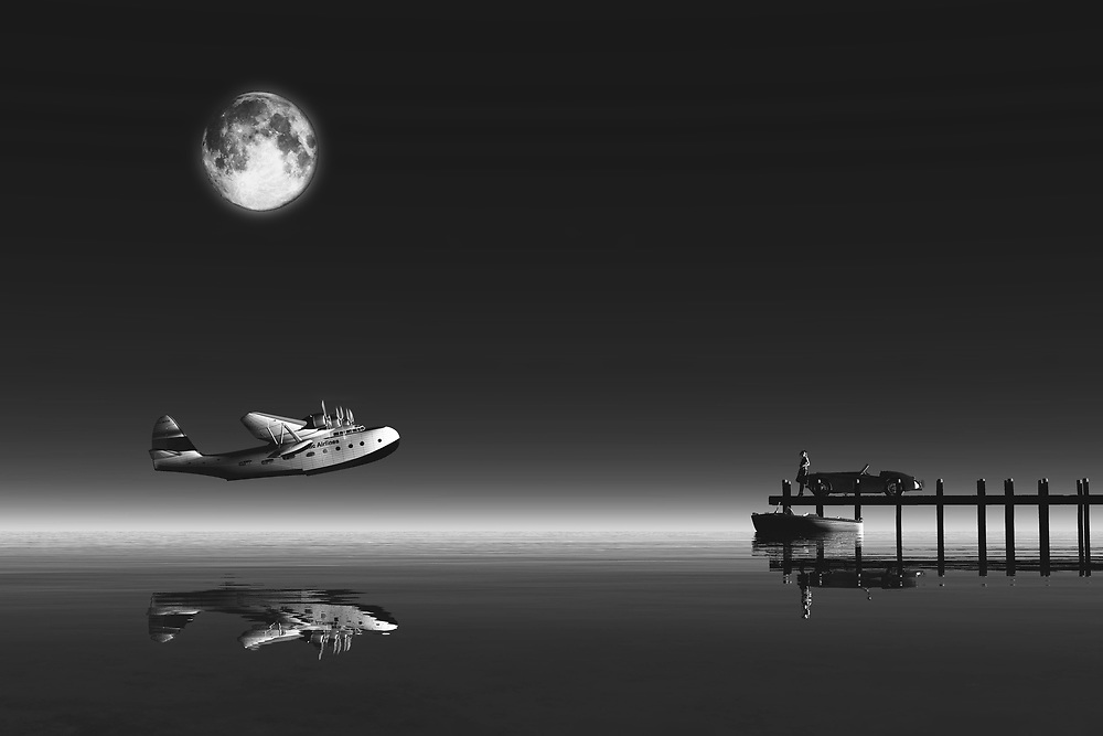 Under a brilliant, bold moon, someone is preparing to fly away. There is a bittersweet noir quality to this haunting piece which cannot be denied. This is a perfect piece for those who like a touch of the mysterious in their fine art. This is also a great piece for anyone who likes to dream of traveling the world. If you consider yourself to be either of those things, or even both, this is a wonderful piece to consider. You will love the fact that a piece such as this can work in a professional setting. It can also work just as well in a personal setting. .<br /> <br /> BUY THIS PRINT AT<br /> <br /> FINE ART AMERICA<br /> ENGLISH<br /> https://janke.pixels.com/featured/fly-away-jan-keteleer.html<br /> <br /> WADM / OH MY PRINTS<br /> DUTCH / FRENCH / GERMAN<br /> https://www.werkaandemuur.nl/nl/shopwerk/Klassiek---Retro-vliegtuig-dat-vertrekt-vanaf-de-zee-met-vrouw-op-steiger/443677/134
