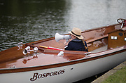 Henley on Thames, United Kingdom. 2016 Henley Masters' Regatta. Henley Reach. England. on Saturday  09/07/2016    [Mandatory Credit/ © Peter SPURRIER]<br /> <br /> Umpires Launch, Driver and Umpire in the marshalling areaRowing, Henley Reach, Henley Masters' Regatta.<br /> <br /> General View,  Henley Reach, venue, for the 2016 Henley Masters Regatta.<br /> <br /> NIKON CORPORATION  NIKON D810  f1.4  1/6400sec  85mm  11.8MB