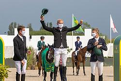 Podium Rolex Grand Prix Knokke, Guery Jerome, Staut Kevin, Kuhner Max<br /> Knokke Hippique 2021<br /> © Dirk Caremans<br />  27/06/2021