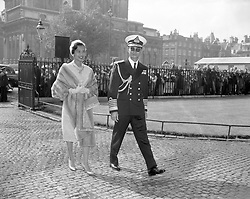 King Bhumibol Aduladej and Queen Sirikit of Thailand arrive at Westminster Abbey to pay homage at the tomb of the Unknown Warrior, one of the first official engagements of their State visit to London.
