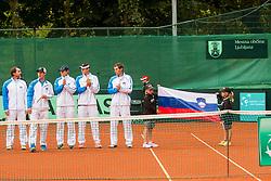 Team Slovenia during Davis Cup Slovenia vs. South Africa on September 13, 2013 in Tivoli park, Ljubljana, Slovenia. (Photo by Vid Ponikvar / Sportida.com)