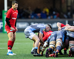 Dane Blacker of Cardiff Blues puts in to the scrum<br /> <br /> Photographer Simon King/Replay Images<br /> <br /> European Rugby Champions Cup Round 4 - Cardiff Blues v Saracens - Saturday 15th December 2018 - Cardiff Arms Park - Cardiff<br /> <br /> World Copyright © Replay Images . All rights reserved. info@replayimages.co.uk - http://replayimages.co.uk