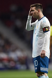 March 22, 2019 - Madrid, Madrid, Spain - Lionel Messi (Barcelona) of Argentina lament a failed occasion during the international friendly match between Argentina and Venezuela at Wanda Metropolitano Stadium in Madrid, Spain on March 22 2019. (Credit Image: © Jose Breton/NurPhoto via ZUMA Press)