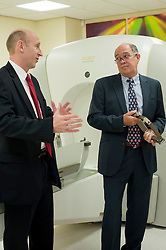 John Healey MP Member for Wentworth  Dearne with Neuro Surgeon  Andras Kemeny during his visit to Thornbury Medical Centre to see the Gamma Knife Radio Therapy system.17th October 2011. Image © Paul David Drabble