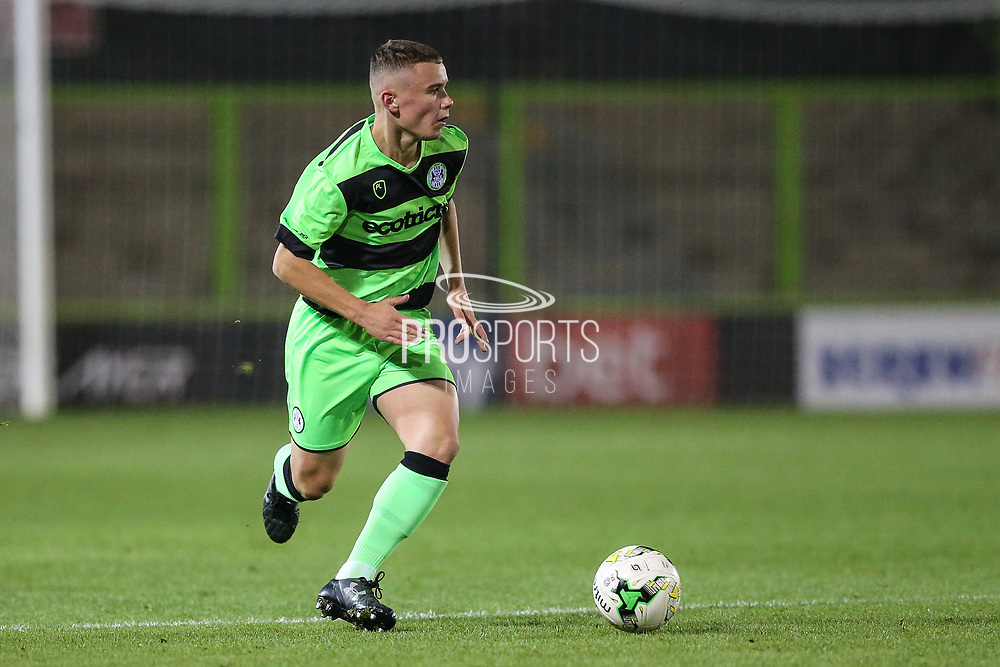 Forest Green Rovers Alfie Saunders(2) during the FA Youth Cup match between U18 Forest Green Rovers and U18 Cheltenham Town at the New Lawn, Forest Green, United Kingdom on 29 October 2018.