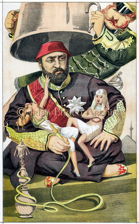 Abd-ul-Aziz (1830-1876), Sultan of Turkey from 1861. At first liberal and westernising, became autocratic. Forced to abdicate after risings in Bosnia, Bulgaria and Herzegovina. Cartoon by Coide (J.J.Tissot 1836-1902) for 'Vanity Fair' London 30 October 1869 showing him about the time of his abdication as a womanising tyrant about to have his power snuffed out. Chromolithograph.