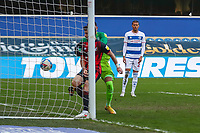Football - 2020 / 2021 Sky Bet Championship - Queens Park Rangers vs AFC Bournemouth - Kiyan Prince Foundation Stadium<br /> <br /> Shane Long (AFC Bournemouth) steps in ahead of Seny Dieng (Queens Park Rangers) to force the ball home for his sides equaliser <br /> <br /> COLORSPORT/DANIEL BEARHAM