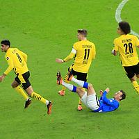21.11.2020, OLympiastadion, Berlin, GER, DFL, 1.FBL, Hertha BSC VS. Borussia Dortmund, <br /> DFL  regulations prohibit any use of photographs as image sequences and/or quasi-video<br /> im Bild Vladimir Darida (Hertha BSC Berlin #6),<br /> Mahmoud Dahoud (Borussia Dortmund #8), Marco Reus (Borussia Dortmund #11), Axel Witsel (Borussia Dortmund #28)<br /> <br />       <br /> Foto © nordphoto / Engler