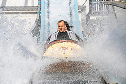 © Licensed to London News Pictures. 19/09/2020. Brighton, UK. Members of the public take a ride on the water attraction on the Brighton Palace Pier in Brighton and Hove. Photo credit: Hugo Michiels/LNP