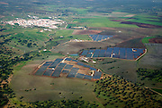 Aerial view of Serpa solar power plant. <br />On the left, Brinches, nearby village.