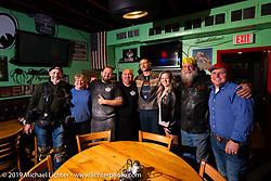 Little Joe and Big Joe Mialki with friends at their South Daytona Beach Giuseppe's Steel City Pizza restaurant during Daytona Bike Week. FL. USA. Monday March 12, 2018. Photography ©2018 Michael Lichter.