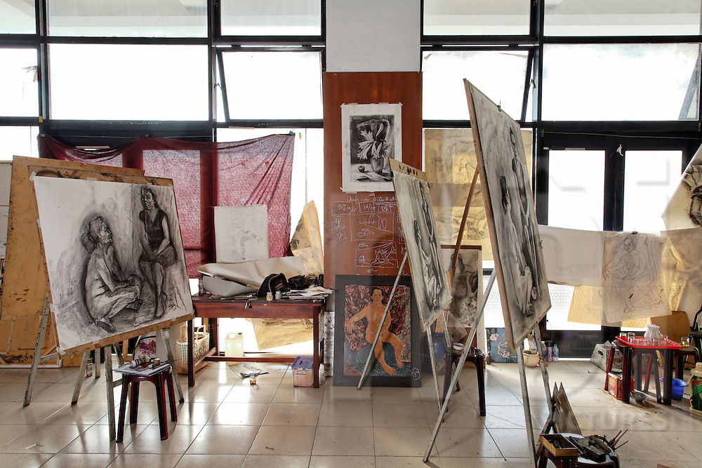 Myriad of charcoal scetches on easels in a studio at the University of Fine Arts of Ho Chi Minh City, Vietnam, Southeast Asia