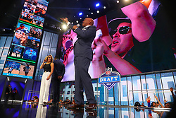 April 26, 2018 - Arlington, TX, U.S. - ARLINGTON, TX - APRIL 26:  Former Dallas Cowboy Drew Pearson gets the crowd going before the Dallas Cowboys make the 19th pick during the first round at the 2018 NFL Draft at AT&T Statium on April 26, 2018 at AT&T Stadium in Arlington Texas.  (Photo by Rich Graessle/Icon Sportswire) (Credit Image: © Rich Graessle/Icon SMI via ZUMA Press)