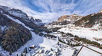 Aerial view of Dolomites mountain range during the winter, Italy