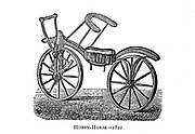 Lewis Gompertz's improvement on Baron von Drais's bicycle, 1821. 'The dandy ' or 'hobby horse' was the forerunner of the bicycle and was invented by Baron von Drais in France in 1817. It was introduced to England the following year by Denis Johnson, a coachmaker of Long Acre, London. Dandy horses had no pedals or brakes, but were propelled by the rider pushing on the ground with his feet, and dragging the feet to slow the machine. Gompertz improved on von Drais' design by adding a rack-and-pinion to power the front wheel. From Wheels and Wheeling; An indispensable handbook for cyclists, with over two hundred illustrations by Porter, Luther Henry. Published in Boston in  1892