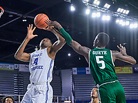 Middle Tennessee Blue Raiders forward Tyson Jackson (4) blocked during the UAB Blazers at Middle Tennessee Blue Raiders college basketball game in Murfreesboro, Tennessee, Saturday, February, 15, 2020. Middle lost 79-66.<br /> Photo: Harrison McClary/All Tenn Sports