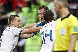 (L-R) Denis Cheryshev of Russia, goalkeeper Igor Akinfeev of Russia, Vladimir Granat of Russia during the 2018 FIFA World Cup Russia round of 16 match between Spain and Russia at the Luzhniki Stadium on July 01, 2018 in Moscow, Russia