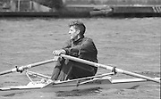 Kingston on Thames, United Kingdom.  Men's Single Scull. Nick BURFITT, M1X.  The final Round of the Leyland Daf Sprint series, at Kingston RC on the River Thames, Surrey, England, <br /> <br /> Saturday 04.05.1987<br /> <br /> [Mandatory Credit; Peter Spurrier/Intersport-images], Saturday 04.05.1987<br /> <br /> [Mandatory Credit; Peter Spurrier/Intersport-images] 1987 Leyland Daf Sprints, Kingston. UK